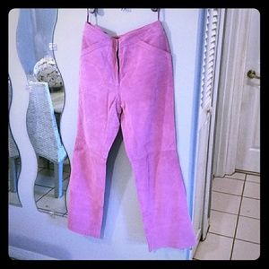 Bright Pink Genuine Leather Pant